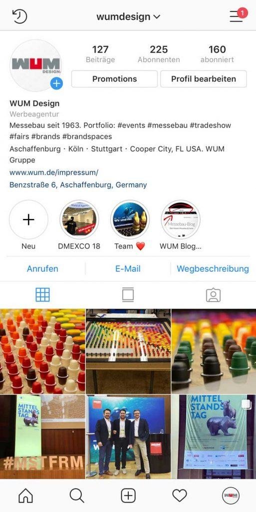 Instagram auf Messen